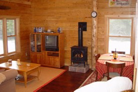 Cozy gas fireplace offers a romantic cozy atmosphere at this quiet romantic cabin.
